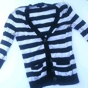 Banana Republic Sweater Striped Cardigan 3/4 sleev